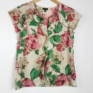 Talbots | Floral Short Sleeve Ruffle Blouse Top